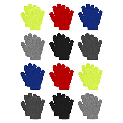 Childrens Gloves Magic (12 Pairs Kid's Winter Magic Gloves Children Knit Warm Gloves Ice Stake Gloves(Free size, Multicoloured))