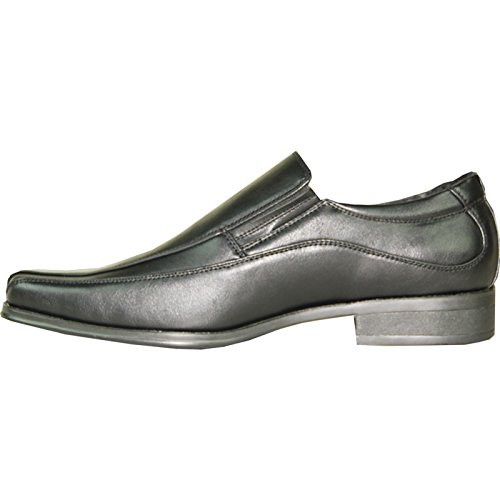 Bravo Heren Dress-schoen Monaco-1 Klassieke Loafer Met Vierkante Fietsteen En Lederen Voering Zwart