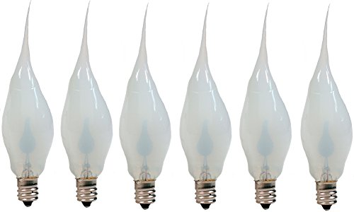 Creative Hobbies Silicone Dipped Flickering Flame Bulb, Country Style, Electric Candle Lamp Chandelier Light Bulbs, 3 Watt , Individually Boxed, Pack of 6 Bulbs]()