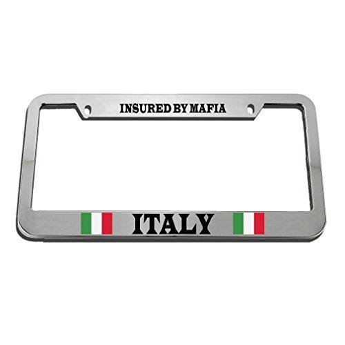 Speedy Pros Italian Italy Flag Insured By Mafia Humor Funny License Plate Frame Tag Holder by Speedy Pros