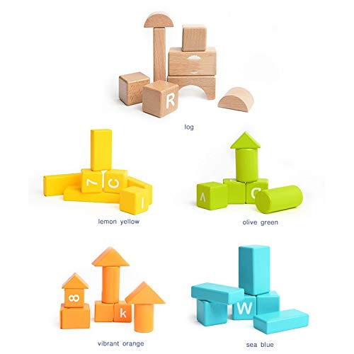 Lxrzls Large Wooden Building Blocks-Preschool Education for Toddler Children-Stacking Toys-Wooden Shape to Build Blocks Children's Educational Toys by Lxrzls (Image #5)
