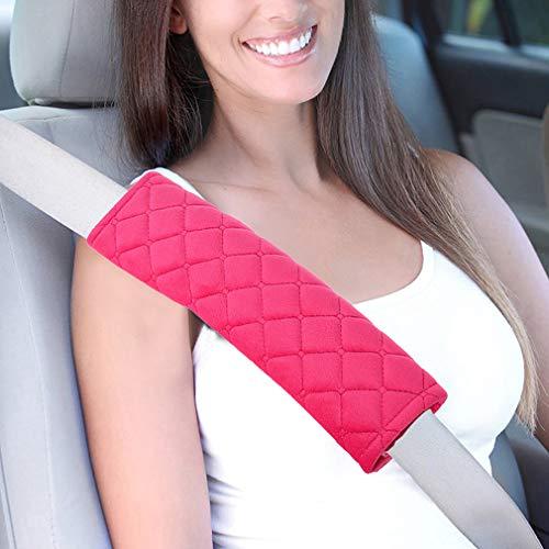 (MLOVESIE 2 Packs Car Seat Belt Pads Plush Soft Seatbelt Cover Cushion Shoulder Strap Protector Pink for)