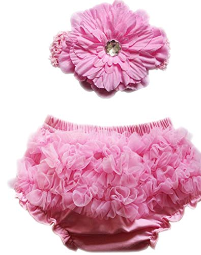(October Elf Baby Girl's Briefs Chiffon Ruffle Bloomer and Headband Diaper Cover (S(0-6M), Pink))