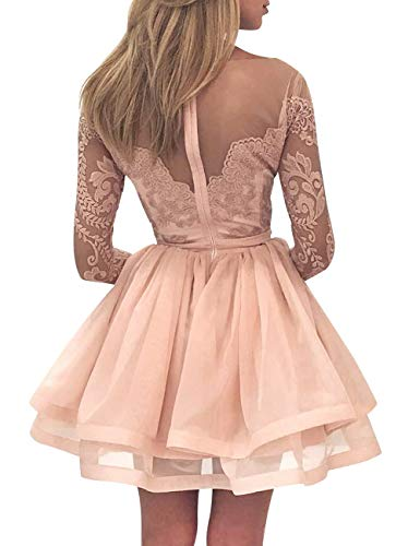 Tulle Women s Sleeves Prom Sky Short Bess Blue Bridal Lace Long Dress Homecoming Sheer aZwYxa8E5q