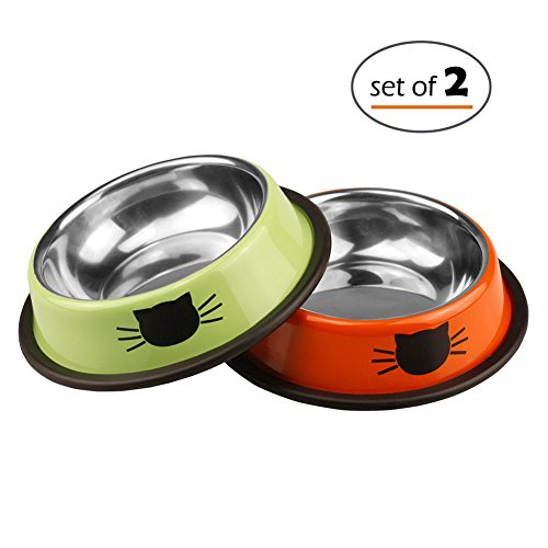 Petfamily Stainless Steel Cat Bowl, Heavy Duty Cats and Dogs Bowls with Non-Skid Rubber Base, Pet Food Bowls, 8 Ounce, Set of - Cat Dish