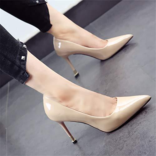 de Europeo Zapatos de Primavera de Trabajo Profunda y de sólido Boca Zapatos Aguja de Verano Color Zapatos Zapatos tacón Estilo Verano de de Simple Poco Solo señaló Moda Fiesta B de de YMFIE wt8qCx80
