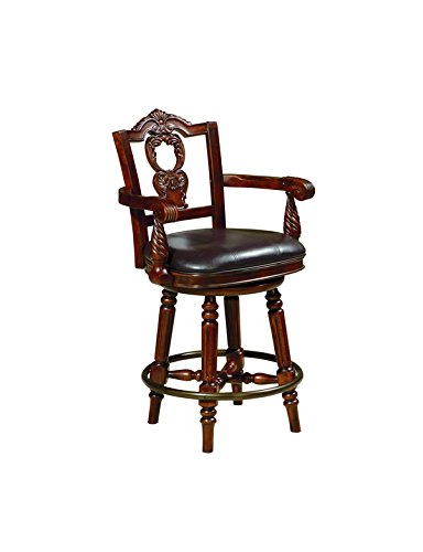 Grace Table Stool (Ashley Furniture Signature Design - North Shore Swivel Barstool - Antique Style - Counter Height - Dark Brown Finish)