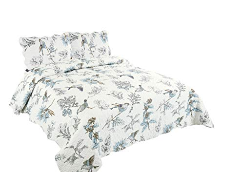 Marina Decoration Rich Printed 3 Pieces Luxury Quilt Set with 2 Quilted Shams, Bird and Leaves Pattern, Blue and White Color, King ()