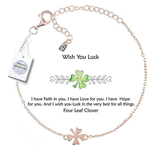 - Vivid&Keith Four Leaf Clover Bracelet ♥Wish You Luck♥ 925 Sterling Silver Adjustable 18K Gold Plated Swarovski Zirconia(Rose Gold)