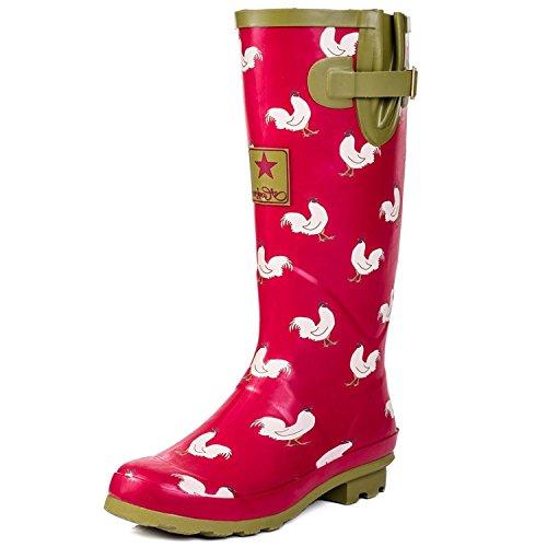 Onlineshoe Damen Regen Stiefel Red Chicken