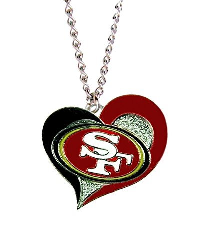 NFL Swirl Heart Necklace San Francisco 49ers Chain (Pendant San 49ers Francisco Logo)
