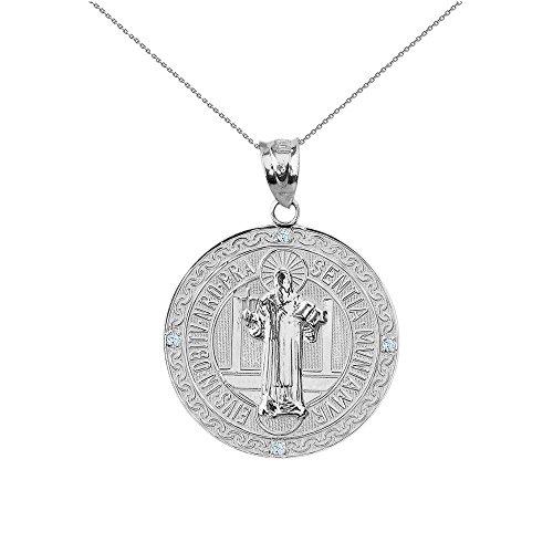 Medalla De San Benito Saint St Benedict 14k White Gold Coin Necklace (1