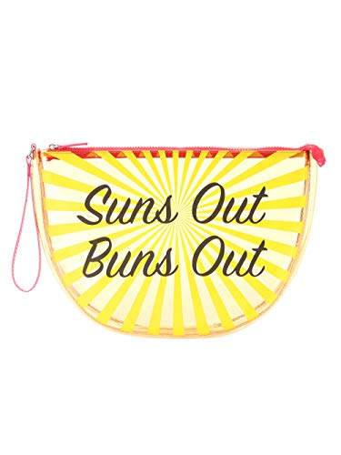 No Boundaries Women and Girls Clear Summer Beach Tote, Wet Swimsuit Bag, Wet Bikini Bag, Pool Bag- Suns Out Buns Out, Medium