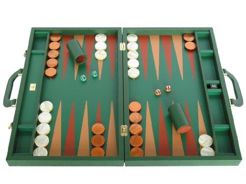 Genuine Dollaro Leather Backgammon Set - Made in Italy - Large 23