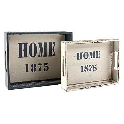Indhouse - Bandeja vintage de estilo industrial en madera y metal - Set de 2