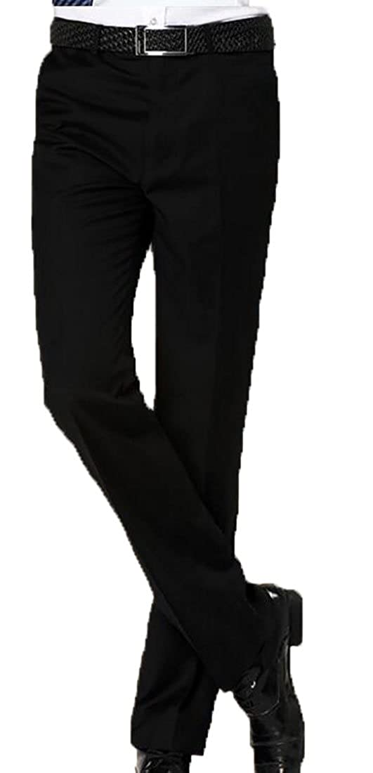 ZXFHZS Mens Slim Casual Formal Straight Dress Pants Suits Stretch Trousers
