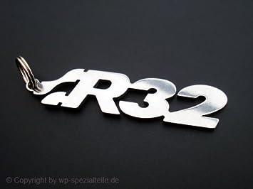 Llavero con el emblema de R32 de acero inoxidable pulido ...