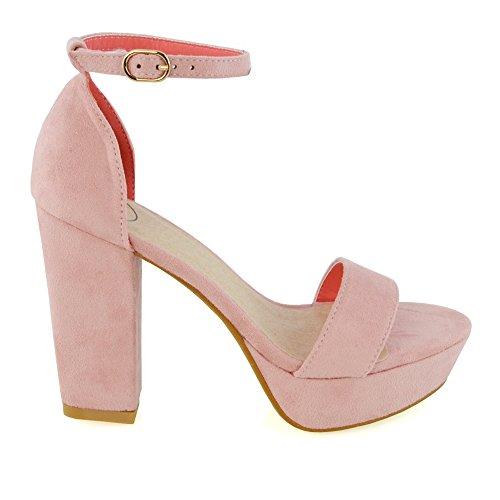 Essex Glam Womens Plattform Blockera Klack Sandaler Faux Mocka Ankelbandet Skor Pastellrosa Faux Mocka