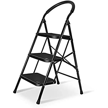 3 Step Ladder With Sturdy Wide Pedal Heavy Duty Ladder