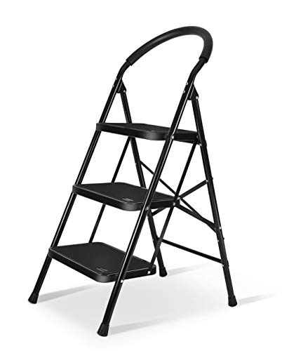 (3 Step Ladder with Rubber Handgrip Anti-Slip Pedal Lightweight Ladder 330lbs Capacity Black by)