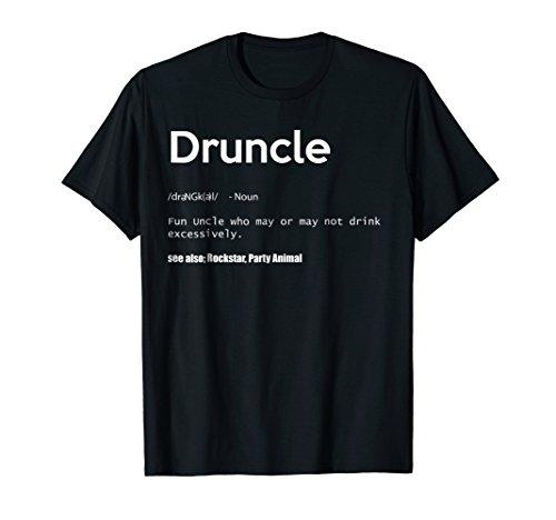 Mens Druncle Definition Drunk Uncle Funny Gift T Shirt XL Black