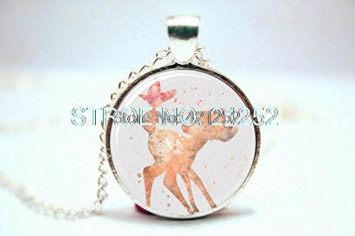 Pretty Lee 2015 Fashion Deer Art Print Necklace Glass Photo Cabochon Necklace Christmas gift
