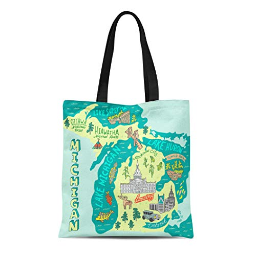 Semtomn Cotton Canvas Tote Bag Capitol Map of the State Michigan Usa Travel Reusable Shoulder Grocery Shopping Bags Handbag Printed