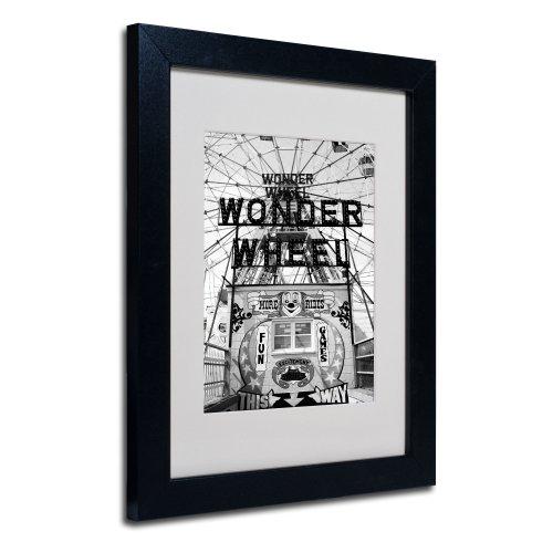 Coney Island Wonder Wheel by Yale Gurney Canvas Art, 11 by 14-Inch, Black Frame (Wonder Wheel Coney Island)