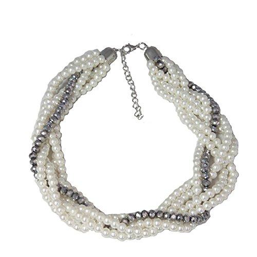 Collier Fantaisie en Métal Argenté et Perles Synthétiques - 6 Rangs de Perles en Tresse - Blanc et Gris