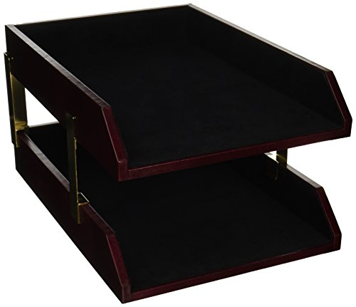 Dacasso Two-Toned Leather Double Legal Tray (A7021) by Dacasso