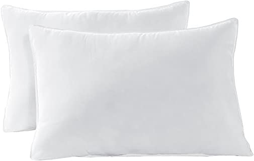 Cozy Beddings Queen Size Bed Pillow Set White Fresh Polyester - Double Stitch Hypoallergenic Dust Mite Resistant, Piped Edges Down Alternative 2-Pack