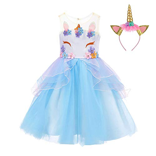 TFlower Girl Rainbow Unicorn Tulle Dress with 3D Embroidery Beading Birthday Party Ball Gowns (Sky Blue, 130(6-7Y)) ()