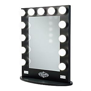 broadway lighted vanity mirror gloss black amazon launchpad. Black Bedroom Furniture Sets. Home Design Ideas