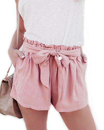 Short Pants Elastic high Waist Frill Loose Self-Tie Summer Holiday Shorts Pink (S) (Frill Shorts)
