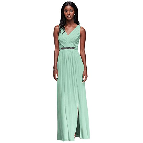 David's Bridal Long Mesh Bridesmaid Dress with V-Neck and Beaded Waistband Style W11092, Mint, 16]()