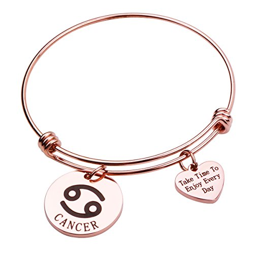 (REEBOOO Rose Gold Zodiac Sign Bracelet Constellation Jewelry Gift for Her (Cancer))
