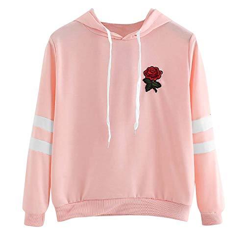 Cool980s Women's Applique Striped Print Sweatshirt Flower Rose Hem Drawstring Crop Top Hoodie