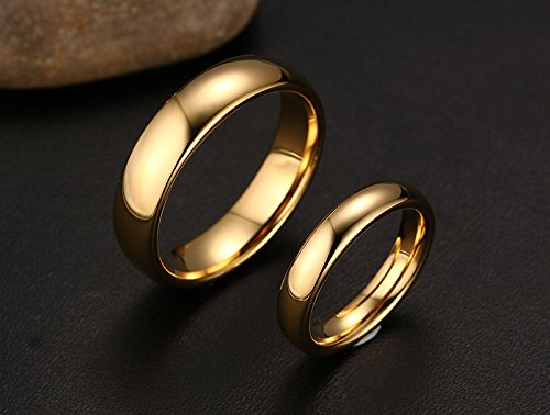 Couples 6mm/4mm Gold Plated-tone Domed High Polished Plain Tungsten Wedding Ring Band for Men&women by Mealguet (Image #2)