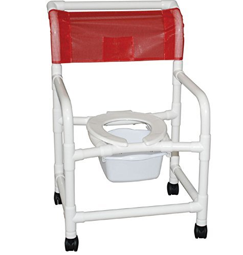 "MJM 122-4-DDA-SQ-PAIL Wide Shower Chair with 4"" Casters, ..."