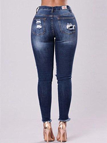 Vita Donne Blu Strappati A Scuro Donna Slim Ricamati Moda Alta Per Wanyang Elasticizzati Jeans Skinny Pantaloni O0qn8