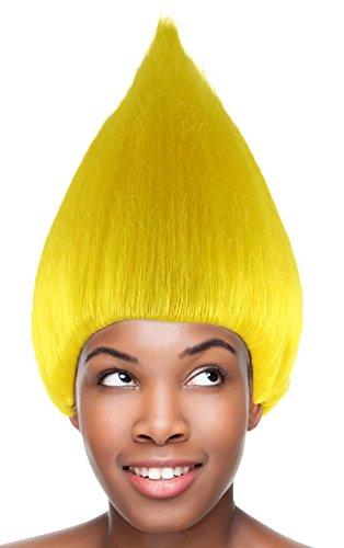 Yellow Chestnut Cone Wigs w/Wig Cap Cosplay Costume Party Halloween Hairpiece Men Women