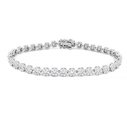 Evan Jewels, EV3-3032 925 Sterling Silver Flower Tennis Bracelet 7 1/2'' (Silver) by Evan Jewels
