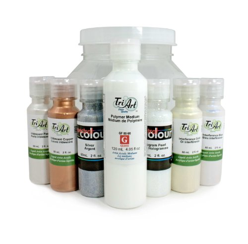 Tri-Art Professional-FQ Liquid Acrylic Bling Paint Set, 6 by