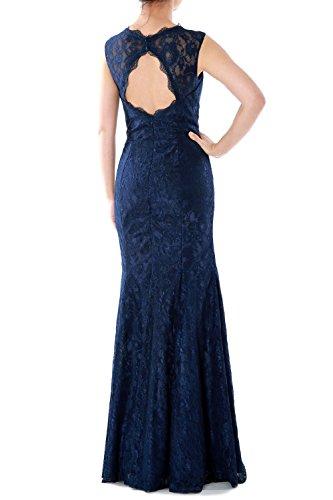 MACloth Women Mermaid Lace Long Bridesmaid Dress Wedding Formal Evening Gown Azul Marino Oscuro