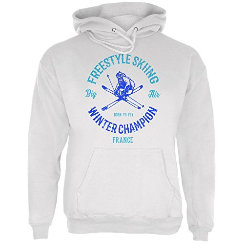 le Skiing Champion France Mens Hoodie White MD ()
