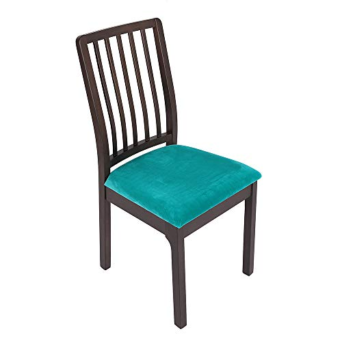 Soft Velvet Dining Room Chair Seat Covers, Stretch Fitted Dinning Upholstered Chair Seat Cushion Cover, Removable Washable Furniture Protector Slipcovers with Ties – Set of 4, Teal