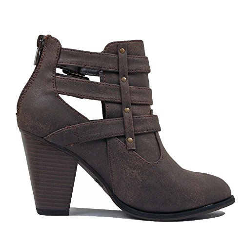 Heart Chunky Toe Brown Block Mid Bootie Comfortable Closed Heel Pu Guilty Ankle Boots Womens dwn7xc
