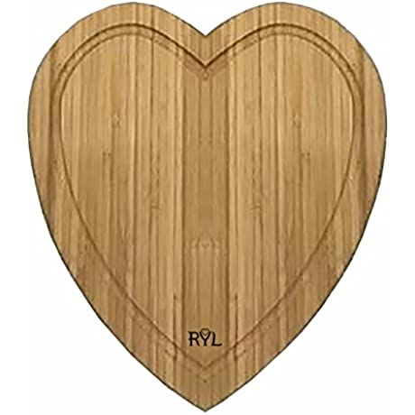 Radiate Your Love Bamboo Heart Shaped Cutting Board With Drip Groove Durable Serving Tray For Cheese And Bread 12 Inches