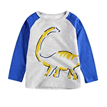 1-6 Years Children Kids Boys Girls Cartoon Dinosaur Print Tops Tee Shirt Casual Long Sleeve Crewneck Pullover Blouse
