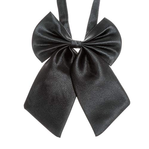 Ladies Adjustable Pre tied Bowtie - Solid Color Bow Ties for Women (Black